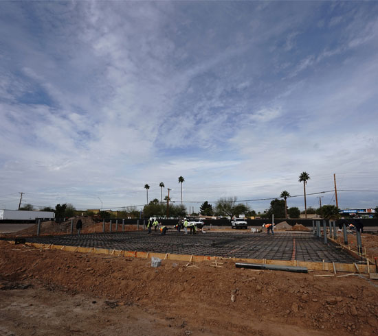 McKinney Trailer Pour Construction Site from Distance