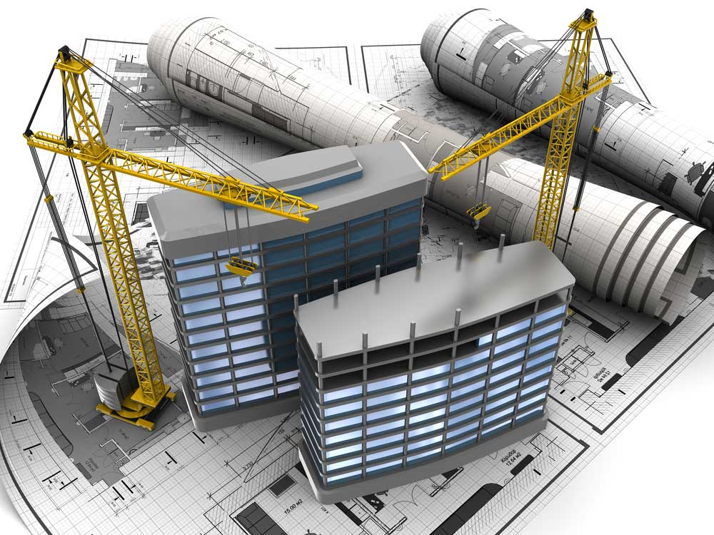 Image of blue prints and commercial construction, Doege Development