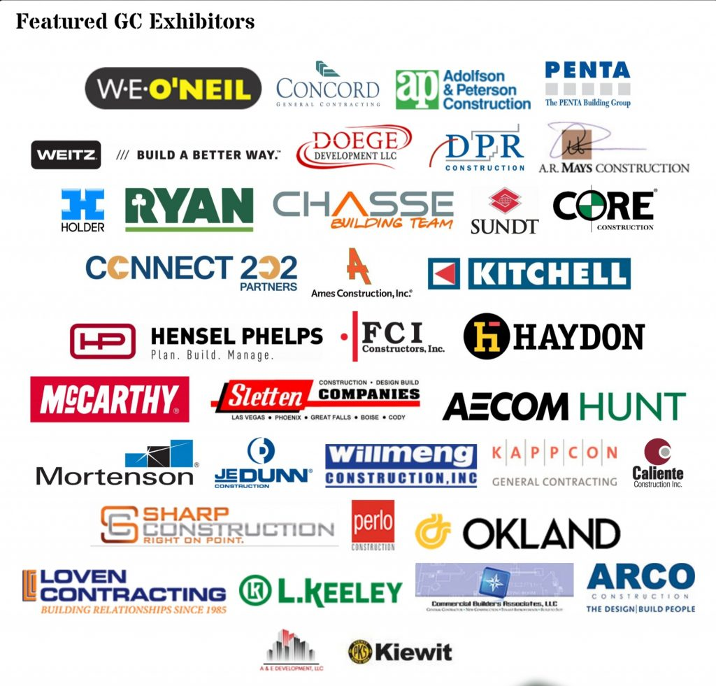 Logos of general contractors at 2018 GC Expo